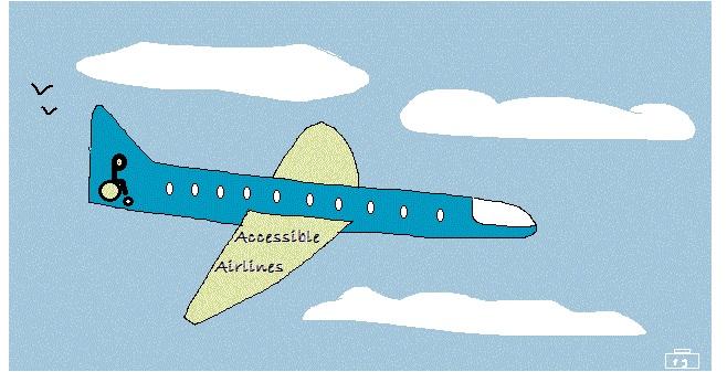 """Cartoon van een vliegtuig, met op de vleugels """"Accessible Airlines"""""""