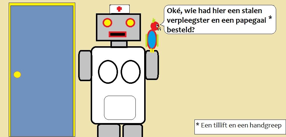 Robot in verplegerkledij, met een papegaai op de schouder.