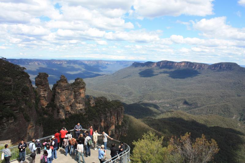 De eucalyptusbossen van de Blue Mountains trekken veel toeristen.