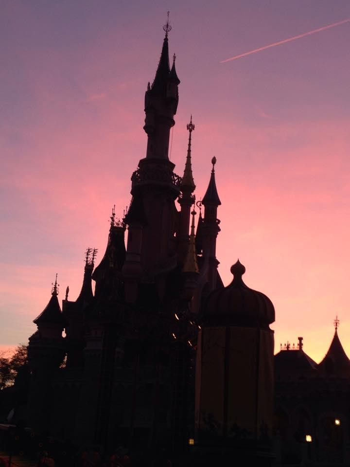 Het kasteel van Doornroosje in mooie schemeringskleuren.