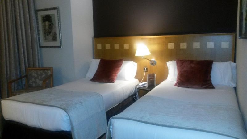 Slaapkamer met twee eenpersoonsbedden en een nachtkastje ertussen.