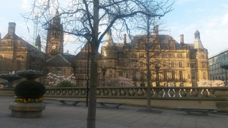 De Town Hall is opgetrokken in gotische stijl. In de Peace Gardens zien we een Japanse kerselaar in bloei.