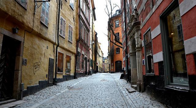 """Een smal straatje in de """"oude stad""""."""