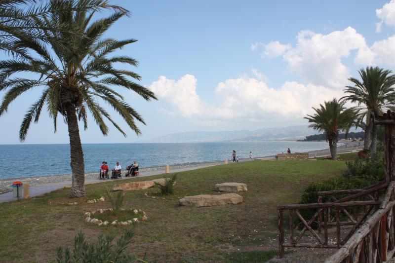 Een rolstoeltoegankelijk pad langs de zeelijn, tussen de palmbomen. Op de achtergrond enkele rolstoelers.