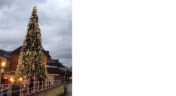 De hoogste zingende kerstboom, rijkelijk versierd met lichtjes.