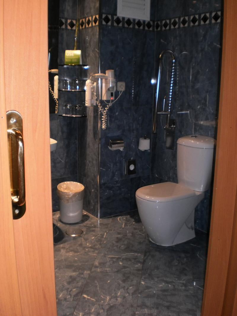 De badkamer ziet er ruim uit, met één steunbeugel aan het toilet. Toegang via een schuifdeur.