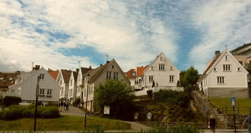 Wijk met witte houten huisjes