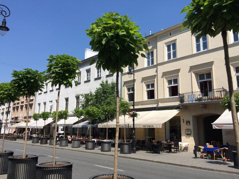 De gezellige straat die leidt naar de oude stad.