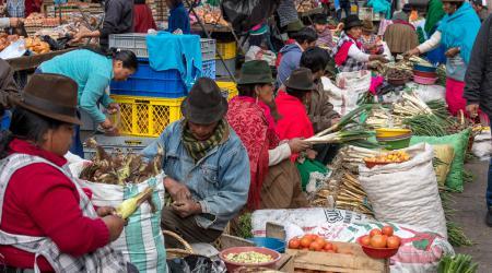 De inheemse vrouwen op de markt, klanten en verkoopsters, dragen kleurige kleren en een typische hoed.